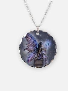 Little Blue Moon Fairy Fantasy Art Necklace