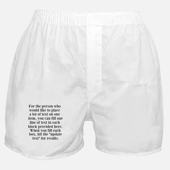 Lines of Text to Personalize Boxer Shorts