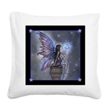 Little Blue Moon Fairy Fantasy Art Square Canvas P