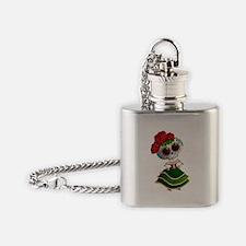 El Dia de Los Muertos Skeleton Girl Flask Necklace