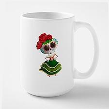 El Dia de Los Muertos Skeleton Girl Mugs