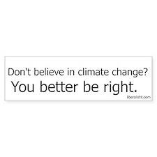 Don't Believe In Climate Change Bumper Car Sticker