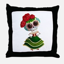 El Dia de Los Muertos Skeleton Girl Throw Pillow