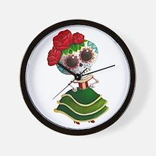 El Dia de Los Muertos Skeleton Girl Wall Clock