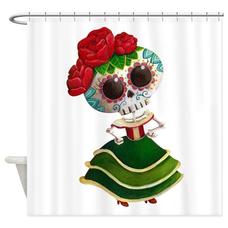Red And Aqua Curtains DIA De Muertos Cupcakes