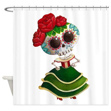 El Dia De Los Muertos Skeleton Girl Shower Curtain By Madamecolonelle