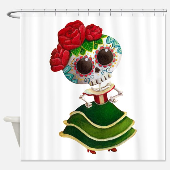 El Dia de Los Muertos Skeleton Girl Shower Curtain