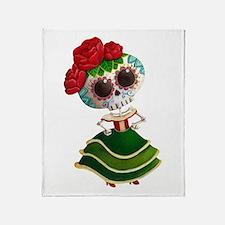 El Dia de Los Muertos Skeleton Girl Throw Blanket