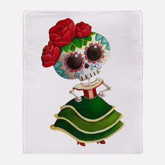 El Dia de Los Muertos Skeleton Girl Throw Blanket