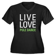 Pole Dance Women's Plus Size V-Neck Dark T-Shirt