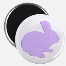 Purple Polka Dot Silhouette Easter Bunny Magnets