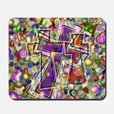 3 Crosses in colorful gems Mousepad