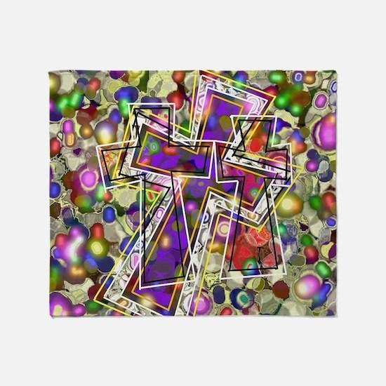 3 Crosses in colorful gems Throw Blanket