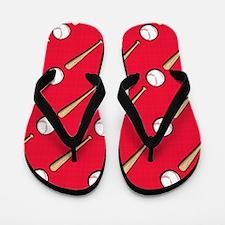 Scarlet Red Baseball Pattern Flip Flops