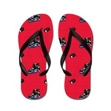 Scarlet Red Hockey Pattern Flip Flops