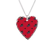Scarlet Red Hockey Pattern Necklace