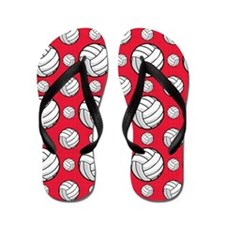 Scarlet Red Volleyball Pattern Flip Flops