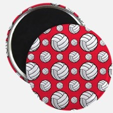 Scarlet Red Volleyball Pattern Magnets