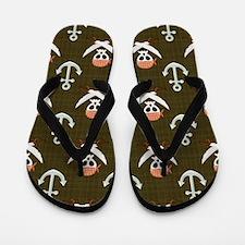 Pirate Skull, Swords, Anchor; Brown Flip Flops