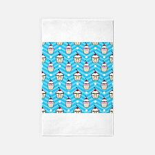 Happy Cupcakes on Blue Chevron Stripes 3'x5' Area
