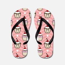Happy Cupcakes on Pink Chevron Stripes Flip Flops