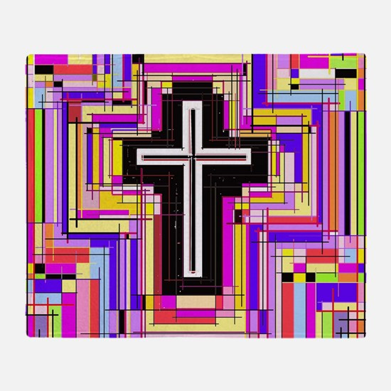 The Stained Glass Cross. Throw Blanket