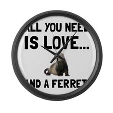 Love And A Ferret Large Wall Clock