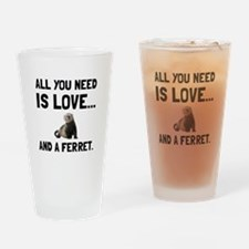 Love And A Ferret Drinking Glass