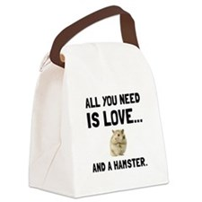 Love And A Hamster Canvas Lunch Bag