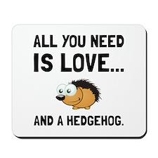Love And A Hedgehog Black Mousepad