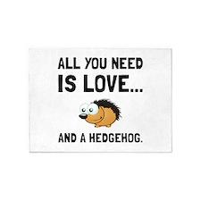Love And A Hedgehog Black 5'x7'Area Rug