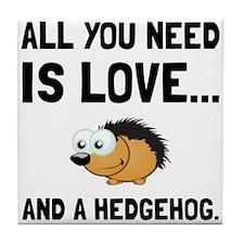 Love And A Hedgehog Black Tile Coaster