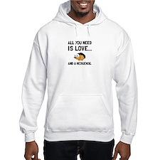 Love And A Hedgehog Black Hoodie