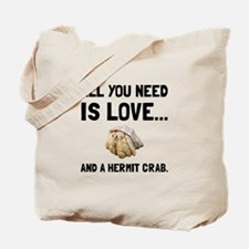 Love And A Hermit Crab Tote Bag