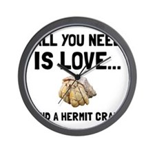 Love And A Hermit Crab Wall Clock