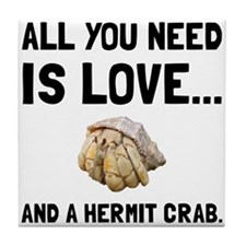 Love And A Hermit Crab Tile Coaster