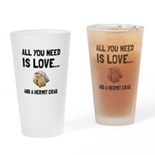 Love And A Hermit Crab Drinking Glass