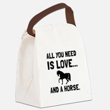 Love And A Horse Canvas Lunch Bag