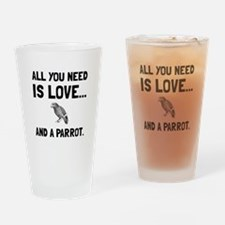 Love And A Parrot Drinking Glass