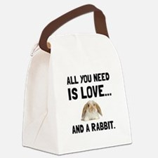 Love And A Rabbit Canvas Lunch Bag