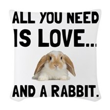 Love And A Rabbit Woven Throw Pillow