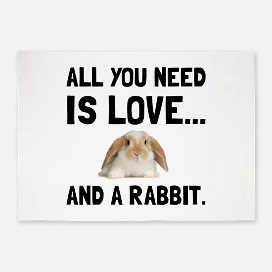 Love And A Rabbit 5'x7'Area Rug