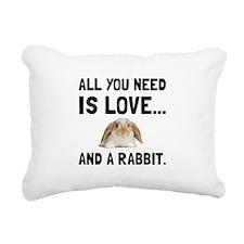 Love And A Rabbit Rectangular Canvas Pillow