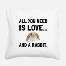 Love And A Rabbit Square Canvas Pillow