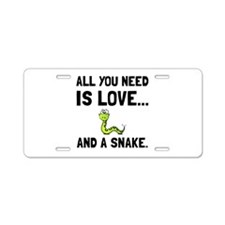Love And A Snake Aluminum License Plate