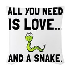 Love And A Snake Woven Throw Pillow