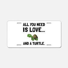 Love And A Turtle Aluminum License Plate