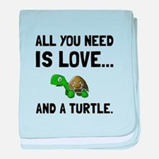 Love And A Turtle baby blanket