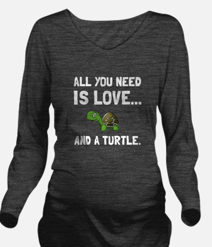 Love And A Turtle Long Sleeve Maternity T-Shirt
