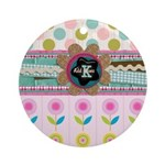 Trendy Girly Custom Embellished Ornament (Round)